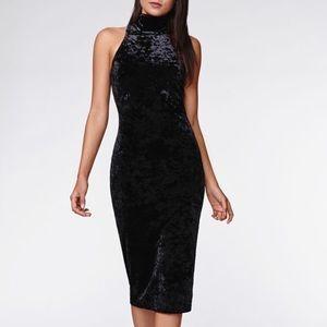 Kendall + Kylie Turtleneck Midi Velvet Dress